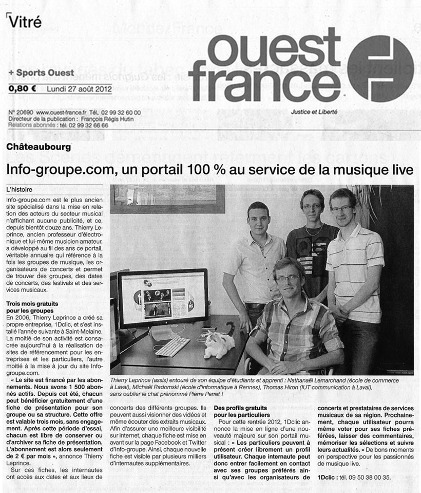 Article Ouest France - Aoüt 2012