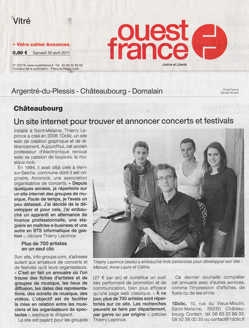 Article Ouest France Avril 2011