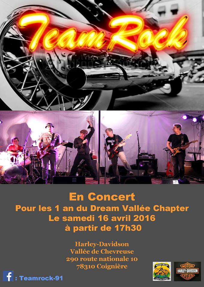 Affiche concert TeamRock au Dream Vallée Chapter le 16 avril 2016 - TeamRock