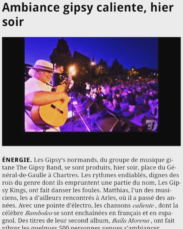 Article presse  - The Gipsy Band