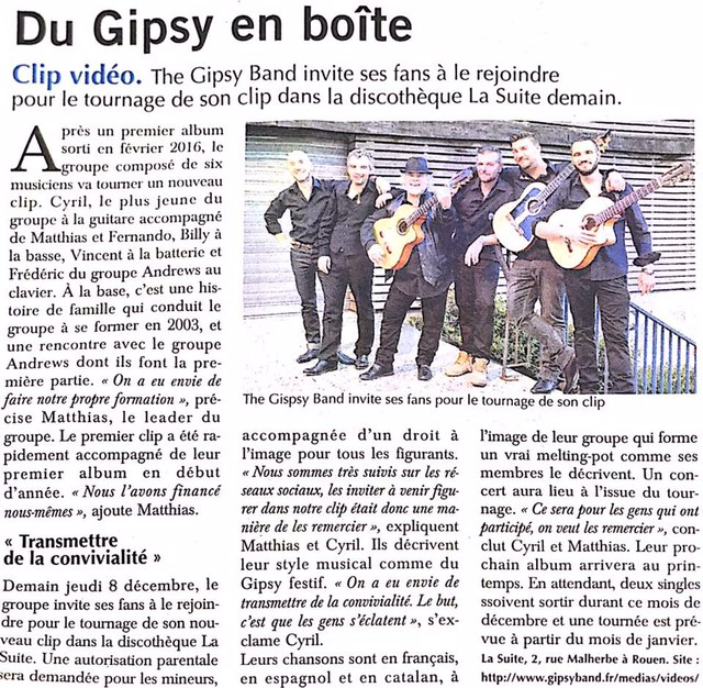 Article presse 'Paris Normandie' - The Gipsy Band