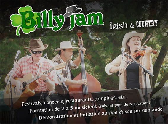 Billy Jam : Groupe Country Celtique Festif Irlandais Pays-de-la-Loire - Maine-et-Loire (49)
