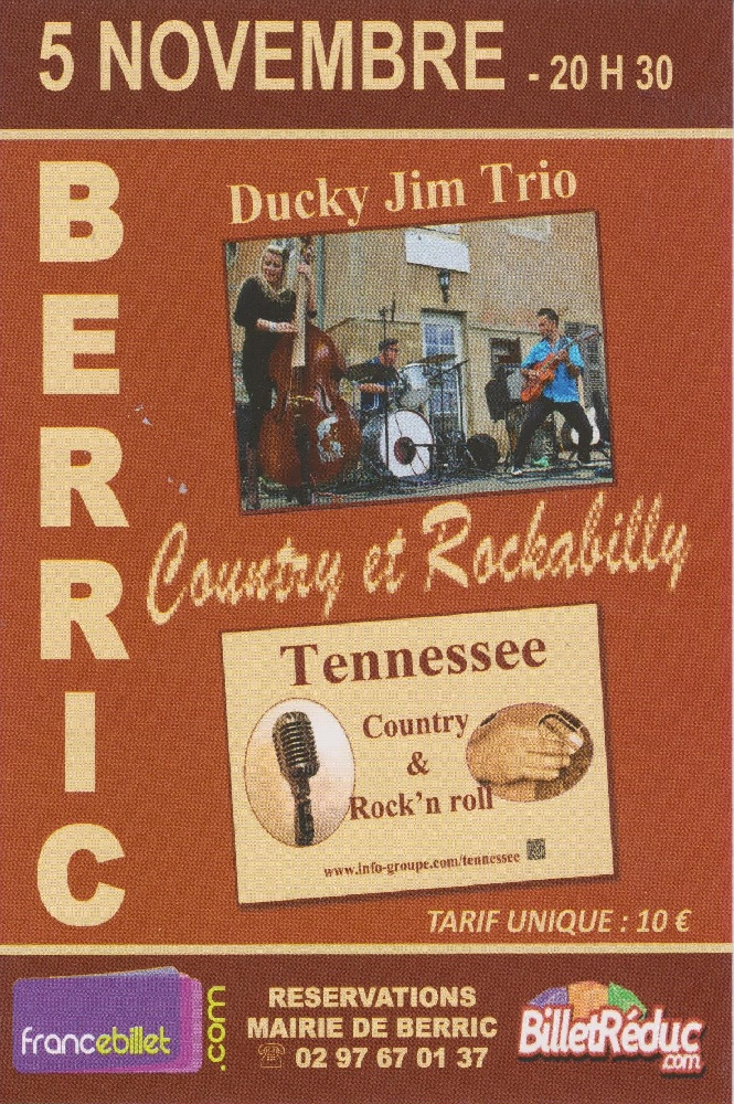 Photo concert Soirée Country & Rock' n roll - Rockabilly( Tennessee & Ducky Jim Trio ) Berric Ducky Jim Trio