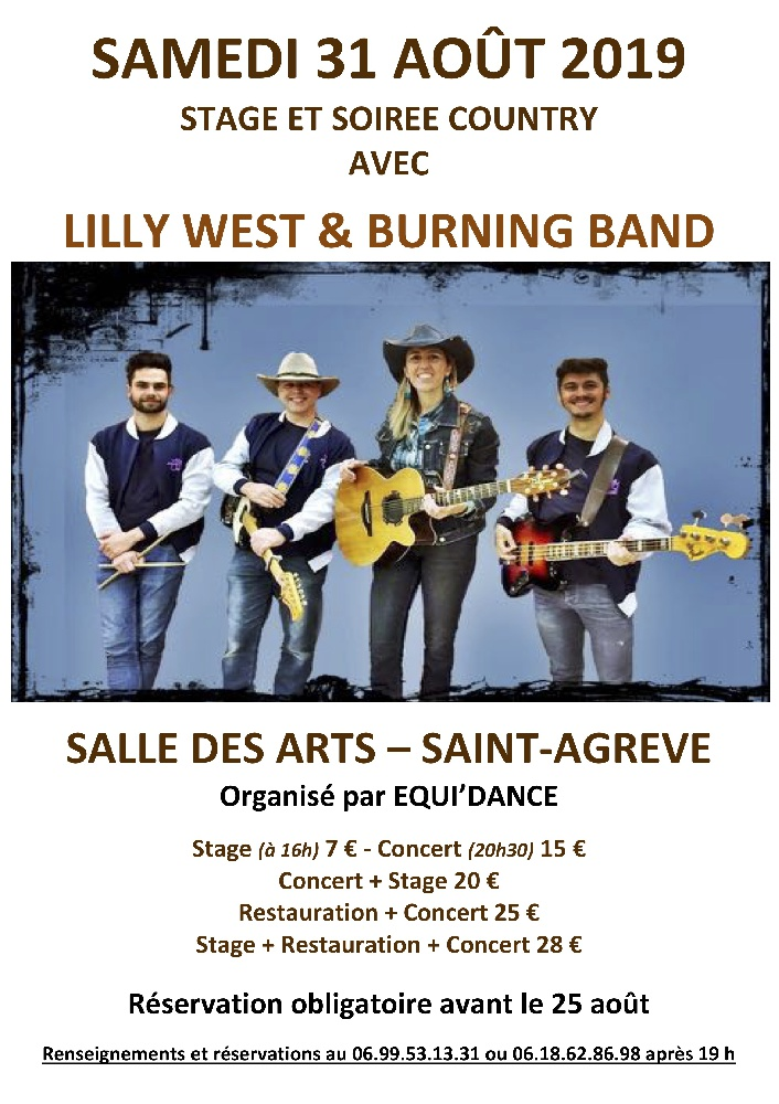 Photo concert Stage de danse Country et Concert de Lilly West & her Burning Band Saint-Agrève Lilly West