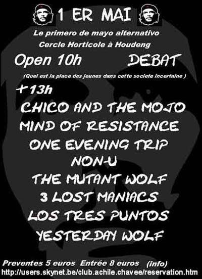 LOS TRES PUNTOS : Info concert LA LOUVIERE : Affiche de concert, photo de soirée, photo de concert ou photo du groupe LOS TRES PUNTOS